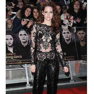 <p>Kristen Stewart wowed on the red carpet at the UK premiere of Breaking Dawn, Part 2. In another revealing number by Zuhair Murad which were teamed with a pair of fierce Christian Louboutin shoes, Kristen made sure all eyes were on her! And with all that sparkle and lace, the outift was a guaranteed winner.</p>
