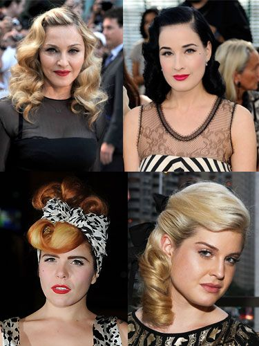 "Want a new way to wear your hair? Then rewind to a retro era because hairstyles from yesteryear are all the rage! From 40s pin curls and 50s rockabilly quiffs to 70s flicks and 80s root boost, even the celebs are being inspired by the different decades. Just make sure you have an arsenal of hair tools on hand to secure your style because some of them are seriously immaculate – think rollers, hairspray and plenty of pins! ""The catwalk trends for 2012 are really putting a modern twist on retro styles,"" says Ken Picton, super stylist and former Welsh Hairdresser of the Year. ""Finger waves are a big favourite at the minute - the surefire way to getting them right is to use a wand or small barrel tong and a soft bristle brush. For shorter hair, try a retro pin curl, very Prada, you just need lots of lady Jane clips and a great hairspray, while quiffs will work on all hair lengths, long or short!"" All you have to do is pick the decade you want to dabble in and get creating…"