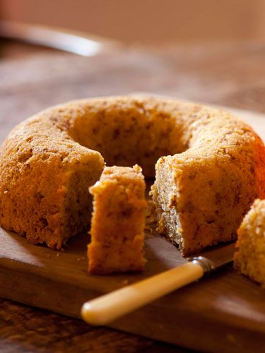 <p>Serves 12</p> <p>150g unsalted butter, cut into small pieces and softened<br />300g caster sugar<br />3 eggs<br />340g self-raising flour<br />225g finely grated raw pumpkin flesh<br />150g amaretti or dry macaroons,lightly crushed<br />50ml whole or semi-skimmed milk<br /><br /><strong>To finish (optional)</strong><br />Orange Glacé icing (see p.55)<br />Hallowe'en sweets</p> <p><strong>Equipment</strong><br />23cm garland or ring mould, well  greased, or a 20cm round tin lightly greased and base-lined with baking parchment</p> <p>Taken from The River Cottage Cakes Handbook by Hugh Fearnley-Whittingstall (£14.99, Bloomsbury)</p>