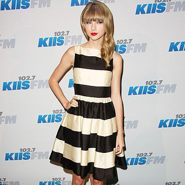 <p>Could singer Taylor Swift look more adorable in her monochrome ensemble? She attended the 2012 KIIS FM's Jingle Ball in LA in a classy black-and-white striped Kate Spade dress, paired with black shoes. Of course she completed her red-carpet style with those bold red lips and cat-eye makeup. Taylor Swift, we're loving your look.</p>