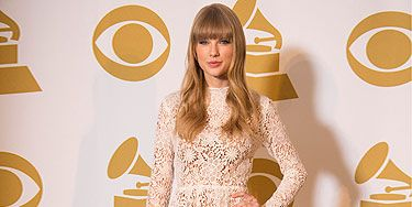 <p>Wowser - Taylor Swift looked fantastic in a lovely white lace dress! Paired with nude shoes and a winning smile, she walked away with three nominations for the 2013 Grammy awards - you go girl!</p>