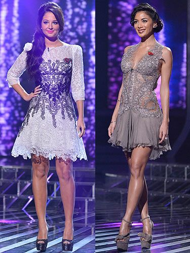 <p>We want the X Factor fash-off to go on forever 'n' ever. On the X Factor this weekend, both judges went all out to impress. Tulisa looked demure wearing a monochrome lace dress by Kruszynska Couture, which she paired with Kurt Geiger shoes and a Kleshna poppy ring. <br /><br />Nicole on the other hand, went for a saucy little nude frock by Bibi Bachtadze Couture. Teaming her dress with sky-high shoes, shimmering skin and a fantastic up-do - she looked fab, but a little Dancing on Ice.<br /><br />Cosmo's overall winner: Tulisa</p>