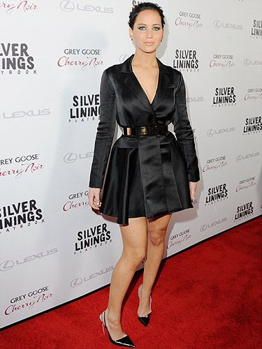 Jennifer Lawrence definitely worked some black magic on the red carpet when she donned this Dior coat dress. Elegant, chic and ever so sophisticated, it was the perfect choice for the premiere of Silver Linings Playbook - a film she's rumoured to be getting an Oscar nomination for.