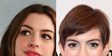 <p>Anne Hathaway lopped off her iconic chestnut waves for her role as Fantine in the critically-acclaimed Les Miserables - and she even handed a fellow actress the scissors to do the haircut live on camera. Now THAT'S dedication to the role! Now her hair has grown into a gorgeous mini mane, we're actually coming round to her gorgeous new look...</p>