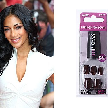 <p>A-list celebrities are always on-the-go and require beauty products that get the job done as quickly as possible. The perfectly manicured X Factor judge Nicole Scherzinger keeps an emergency pair of press-on nails in her makeup bag. You wouldn't be able to tell the difference from this or a professional salon gel-manicure.</p>