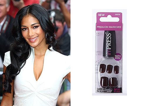 "<p>A-list celebrities are always on-the-go and require beauty products that get the job done as quickly as possible. The perfectly manicured X Factor judge Nicole Scherzinger keeps an emergency pair of press-on nails in her makeup bag. You wouldn't be able to tell the difference from this or a professional salon gel-manicure.</p> <p>imPRESS Press-on-Manicure, £4.99, <a href=""http://www.boots.com/en/imPRESS-Press-on-Manicure-Text-Appeal_1252074/"" target=""_blank"">Boots</a></p>"