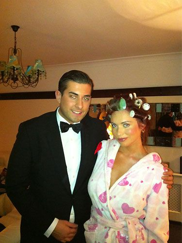 The nation's new favourite hairdresser Amy Childs snapped a pic with her mate and TOWIE co-star Arg. We reckon Amy could audition for a role in Desperate Scousewives with those HUGE rollers in her barnet!
