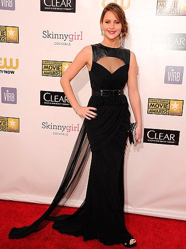 <p>Ooh, it's the lady in black. Jennifer Lawrence opted for a classic look for the Critics' Choice Awards 2013. Looking sensational in a Prabal Gurung gown, Jimmy Choo shoes, Roger Vivier bag, and Chopard jewels.</p>