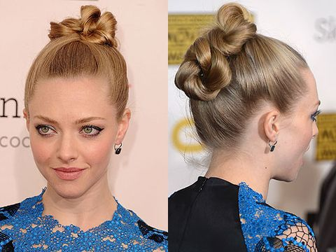 <p>We definitely give the award to Amanda Seyfried for best topknot hairstyle at the 2013 Critics' Choice Awards. She pulled back her beautiful blonde locks into a smooth, sophisticated knot that looked fantastic at all angles. Paired with her signature cat-eye makeup and matching pink blusher and lips, we thought this was one of her best beauty looks this year.</p>