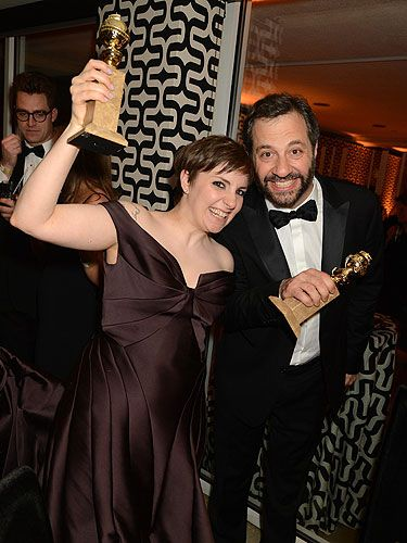 <p>We LOVE Girls here at Cosmo so we were so pleased when the show picked up not one, but two awards at the Golden Globes. Lena Dunham and Judd Apatow picked up the awards and totally didn't care about keeping their cool.</p>