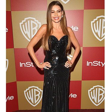 <p>Sofia Vergara chose black to wear to the 2013 Golden Globes. The sexy star was nominated for Best Supporting Actress in a Series, Mini-series, or Television Film for her role in the hit show Modern Family, which was won by Maggie Smith.<br /><br /></p>