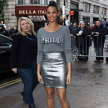 <p>Alesha Dixon's sense of humour shines through in this 'Chill' jumper – totes weather appropriate! The singer wore this silvery ensemble for the Britain's Got Talent auditions in London. We're definitely adding a metallic skirt to our fashion wish list. White heels aren't just for Essex stereotypes anymore. She's DEFINITELY got the Cosmo seal of approval.</p>