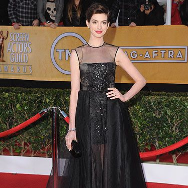 <p>Hurrah, way to go Anne Hathaway. The Les Miserables actress won a Screen Actor's Guild Award for her role as Fantine in the musical masterpiece. The 30-year-old actress won the Best Supporting Actress award and she looked like a winner in the style department too. Anne chose a Giambattista Valli couture dress, custom vegan Jimmy Choo shoes, Kwiat jewels, and an Eddie Parker clutch.</p>