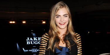 <p>Brit model Cara Delevingne left her beloved onesie at home last night for the exclusive Jake Bugg show for Burberry.</p> <p>Getting her rawk on without a frock on, Cara (who is also face of the brand) donned pieces from the latest Burberry collection (natch): a striped jacket with a peplum satin top and leather trousers.</p> <p>And we're seriously lusting after her leccy blue heels and perspex yellow Blaze handbag.</p>