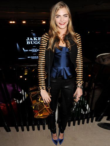 <p>Brit model Cara Delevingne left her beloved onesie at home last night for the exclusive Jake Bugg show for Burberry.</p>