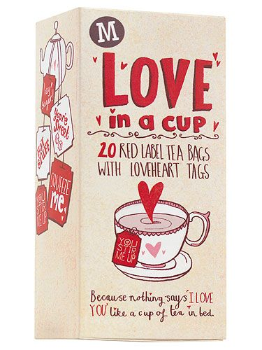 "<p>Treat your loved one to a romantic cuppa in bed with these adorable tea bags! Complete with love heart tags and five different romantic messages, there really isn't a better way to say I love you. Plus with 20 bags for a £1 (bargain!), you can be romantic for the whole of February!<br /><br />Love in a cup teabags, £1, <a title=""https://www.morrisons.co.uk/"" href=""https://www.morrisons.co.uk/"" target=""_blank"">Morrisons</a></p> <p><a title=""http://www.cosmopolitan.co.uk/love-sex/karma-sutra/yes-yes-yes-78287"" href=""http://www.cosmopolitan.co.uk/love-sex/karma-sutra/yes-yes-yes-78287"" target=""_blank"">ADD EXTRA FUN TO THE BEDROOM WITH THESE MOVES!</a></p>"
