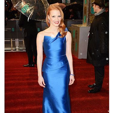 <p>Jessica Chastain was one of the few celebs at the BAFTAs 2013 to wear a colourful dress and we love it! The Zero Dark Thirty actress oozed Hollywood glamour in a royal blue Roland Mouret dress. Jessica wore her trademark red hair lose and wavy to show off gorgeous sapphire and diamond Harry Winston earrings. She's definitely a serious contender for the best dressed award!</p>