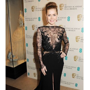 <p>Just as we thought we were getting black dress fatigue, Amy Adams showed up to the BAFTAs 2013 in this frock. From the delicate lace detail to the elegant train, this Elie Saab gown is a beauty. We're used to seeing Amy's long locks down, so this up do makes a pleasant change. It's the perfect way to show off those earrings! It turns out that diamonds AND rubies are a girl's best friend.</p>