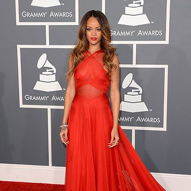 <p>If there was a Grammy award for style, we'd give it to Rihanna. The girl has blown us away with this elegant Azzedine Alaïa dress. Usually the singer makes headlines for her lack of clothing, but she respected the Grammy Awards 2013 dress code and wowed us in red. This isn't her only look of the night either. She had three outfits in total. Ah-mazing.</p>
