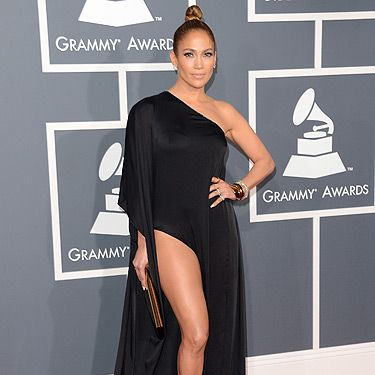 <p>Is that Angelina Jolie's leg making an appearance again? No, it's Jennifer Lopez having an Ange moment. JLo wore this black Anthony Vaccarello for the Grammy Awards 2013. It's not as dramatic as her Grammy dress in 2000 – who could forget <strong>that</strong> green Versace dress?</p>