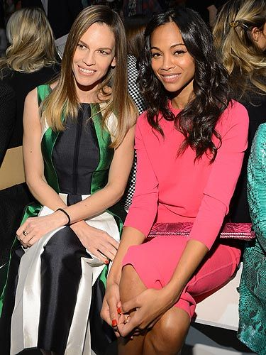 <p>Sat front row at Michael Kors' fashion show was Hilary Swank and Zoe Saldana. Zoe looked super pretty in her bright pink frock and Hilary's hair was gorgeous and shiny. <br /><br /></p>