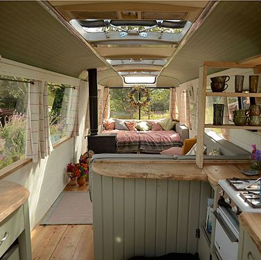 """<p>This cool 60s bus turned cosy bolthole in Wales featured on George Clarke's <em>Amazing Spaces</em> and has been refurbed for a total comfort. There's a wood-burner and outside fire-pit surrounded by big log seats to huddle around when the nights get chilly and a bathroom hut where you can bathe with a view. The bus makes a great base to visit nearby Hay for a spot of culture or the stunning Brecon Beacons for long walks and adventure sports.</p><p><em>From £103 per night (sleeps 2-4)</em>, <a href=""""http://www.canopyandstars.co.uk/majestic"""" target=""""_blank"""">canopyandstars.co.uk/majestic</a></p>"""
