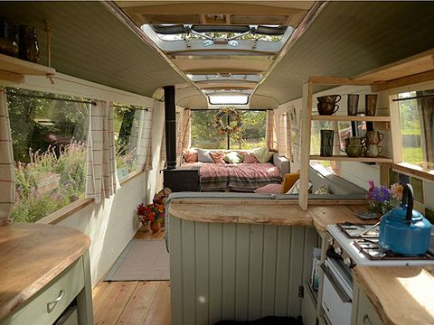 """<p>This cool 60s bus turned cosy bolthole in Wales featured on George Clarke's <em>Amazing Spaces</em> and has been refurbed for a total comfort. There's a wood-burner and outside fire-pit surrounded by big log seats to huddle around when the nights get chilly and a bathroom hut where you can bathe with a view. The bus makes a great base to visit nearby Hay for a spot of culture or the stunning Brecon Beacons for long walks and adventure sports.</p> <p><em>From £103 per night (sleeps 2-4)</em>, <a href=""""http://www.canopyandstars.co.uk/majestic"""" target=""""_blank"""">canopyandstars.co.uk/majestic</a></p>"""