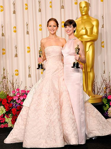 "<p>Jennifer Lawrence and Anne Hathaway both scooped Academy Awards at the Oscars 2013, and they both wore dresses in the palest of hues. Coincidence? We think not!</p> <p>JLaw, who took home the Best Actress award for Silver Linings Playbook, looked as pretty as a princess in her strapless Dior Haute Couture gown. Clearly it's a dress for posing, not moving in, as the poor love tripped on the train whilst collecting her award. Gah.</p> <p>Meanwhile, AHaw (what?) channeled Audrey Hepburn in a soft pink Prada dress, paired with Tiffany & Co jewels. Perfect.</p> <p>Who says pale can't be interesting?</p> <p><a title=""Oscars 2013"" href=""http://www.cosmopolitan.co.uk/celebs/entertainment/oscars-2013"" target=""_self"">SEE MORE FROM THE OSCARS 2013!</a></p>"