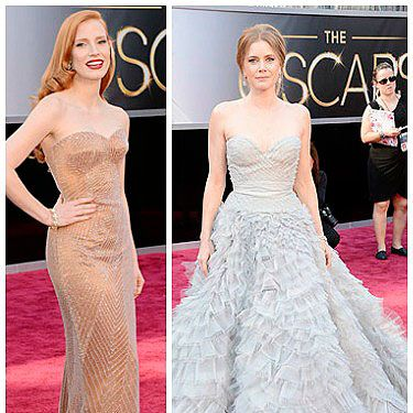 <p>Pastel-hued dresses were a popular choice at the 2013 Oscars - but not the sugary sweet sort&#x3B; it was all about pared-down shades at this year's Academy Awards.</p><p>Jessica Chastain wore a barely-there nude gown by Armani Prive, with subtle shimmering embellishment, amped up with a swipe of red lipstick and side-swept hair.</p><p>Fellow redhead Amy Adams opted for a pretty powder blue princess dress by Oscar de la Renta - one of our favourite looks of the evening.</p><p>Both gals missed out on gongs, but should surely get best-dressed awards for their delish dresses?</p>