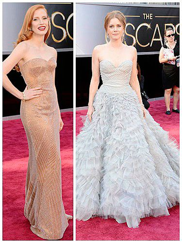 <p>Pastel-hued dresses were a popular choice at the 2013 Oscars - but not the sugary sweet sort; it was all about pared-down shades at this year's Academy Awards.</p> <p>Jessica Chastain wore a barely-there nude gown by Armani Prive, with subtle shimmering embellishment, amped up with a swipe of red lipstick and side-swept hair.</p> <p>Fellow redhead Amy Adams opted for a pretty powder blue princess dress by Oscar de la Renta - one of our favourite looks of the evening.</p> <p>Both gals missed out on gongs, but should surely get best-dressed awards for their delish dresses?</p>