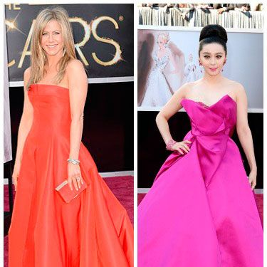 <p>We like a celeb who's not afraid to stand out from the crowd in a punchy bright shade.</p><p>Jennifer Aniston was one such star, taking her inspiration from the red carpet in a bright scarlet bandeau dress by Valentino. We were pretty shocked to see her NOT wearing black/beige/*insert other bland colour here*, if we're honest.</p><p>Fan Bingbing also looked a bit of all bright in an amazing vivid fuschia frock by Marchesa, complete wth satin scultural folds. What we'd call a stand-out look. Plus, kudos for coordinating lippy.</p>