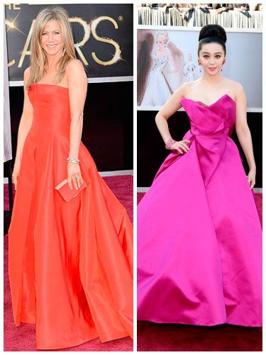 <p>We like a celeb who's not afraid to stand out from the crowd in a punchy bright shade.</p> <p>Jennifer Aniston was one such star, taking her inspiration from the red carpet in a bright scarlet bandeau dress by Valentino. We were pretty shocked to see her NOT wearing black/beige/*insert other bland colour here*, if we're honest.</p> <p>Fan Bingbing also looked a bit of all bright in an amazing vivid fuschia frock by Marchesa, complete wth satin scultural folds. What we'd call a stand-out look. Plus, kudos for coordinating lippy.</p>