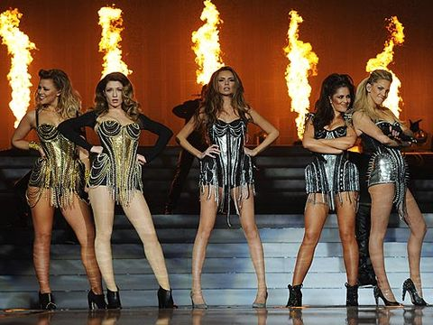 <p>As the familiar tune of Sound Of The Underground boomed around London's O2 Arena, Cheryl Cole, Kimberley Walsh, Nadine Coyle, Nicola Roberts and Sarah Harding made their way on to the stage in metallic outfits and a backdrop of fire. Amazing.</p>