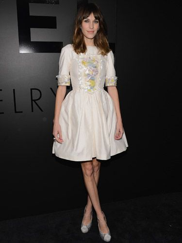 <p>OMG, we have maje style envy over Alexa Chung in this party frock. Proving she's still Chanel's fave girl, Alexa arrived at Chanel's Fine Jewellery's 80th anniversary event in New York. Dressed in Chanel – um, what else? – Alexa looked ready to twirl on the dancefloor in her pretty embroidered puff-hem dress and sparkly shoes. We think she looks as pretty as a picture!</p>