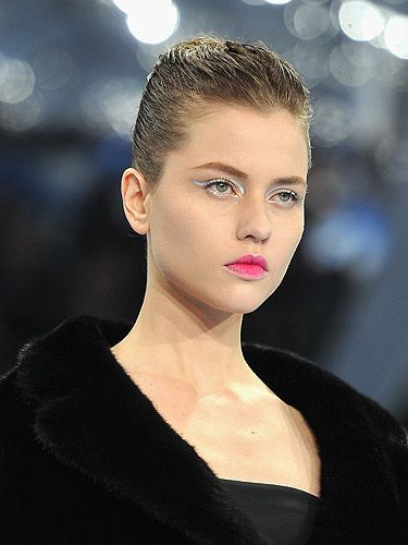 "<p>The makeup at the Dior shows, artfully executed by Pat McGrath, is always as coveted as the clothing collections. <br /> <br />This season was no exception, we can't wait to do this delicate silver eyeliner and rich pink lip stain which makes a lively alternative to nudes and burgundies. Try the Rouge Dior Lipstick in Star Fuchsia 766, £25, <a href=""http://www.houseoffraser.co.uk/"" target=""_blank"">House of Fraser</a>, for a similar shade.</p>"