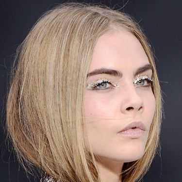 <p>As <strong>Cara Delevingne</strong> brilliantly demonstrates, the coolest eye makeup trend this season - set by Chanel - is glitter peepers. But forget fine particles, glitter's gone supersized! Balance it with a nude lip and you've got fun (without being too young!) evening makeup nailed.</p>
