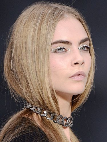 "<p>As <strong>Cara Delevingne</strong> brilliantly demonstrates, the coolest eye makeup trend this season - set by Chanel - is glitter peepers. But forget fine particles, glitter's gone supersized! Balance it with a nude lip and you've got fun (without being too young!) evening makeup nailed.</p> <p>Join the glitterati with Frontcover's Sparkler set (£16, <a title=""http://www.frontcovercosmetics.com"" href=""http://www.frontcovercosmetics.com"" target=""_blank"">frontcovercosmetics.com</a>) which has a choice of three pots of glitter dots, a specially formulated eye gel and tools to help adhere it to your eyelids with ease. </p>"