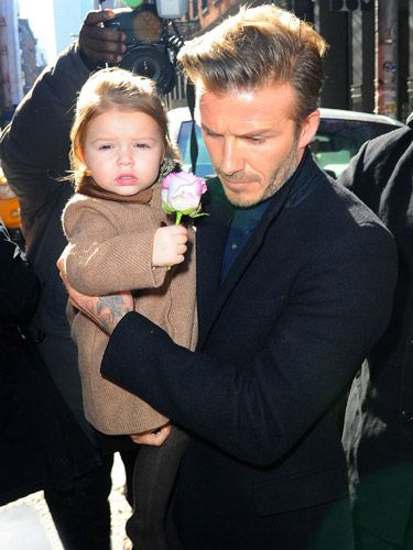 <p>It really doesn't get much cuter than this. Harper Beckham and her daddy dined out at celeb hotspot Balthazar Restaurant in New York. Her outfit of choice? A camel tweed coat of course - and if you ask us, the pink rose was the perfect accessory.</p>