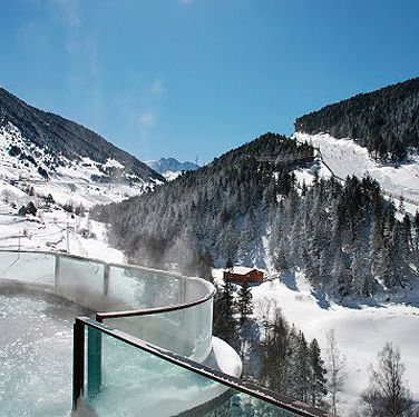 "<p>Floating in a bubbling hot tub, doused in glorious sunshine while looking out over the snow-frosted peaks is the ultimate in alpine luxury. The Sport Wellness Mountain Spa in Soldeu is a veritable playground for a spa junkie. At 1850-metres high, the five floors boast everything from an aromatherapy relaxation room to an ice pit. There's an indoor-outdoor pool, an abundance of water features and an entire glass wall overlooking the slopes. You can be massaged, steamed, sprayed, dunked and generally indulged until finally you're rewarded with a glass of champagne and some sushi in the hotel's Glass Bar.<br /><em>Spa access is free for hotel guests or €49.16 for a day pass&#x3B; for more details visit <a href=""http://www.sportwellness.ad/en"" target=""_blank"">sportwellness.ad/en</a>.</em></p>"