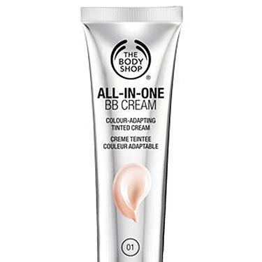 """<p>With one selling every 27 seconds this is already a cult beauty buy! The clever makeup/skincare hybrid adapts to your skin tone upon application.<br /> <br /><strong>Why we love it?</strong> It's undetectable to the eye but grants a gorgeous, healthy glow in a flash.<br /> <br /><strong>How many shades?</strong> Three: A light, medium and dark but the dark is only suitable for Caucasian skin tones.<br /> <br />£12, <a title=""""The Body Shop"""" href=""""http://www.thebodyshop.co.uk/make-up/face/all-in-one-bb-cream.aspx"""" target=""""_blank"""">The Body Shop</a></p>"""
