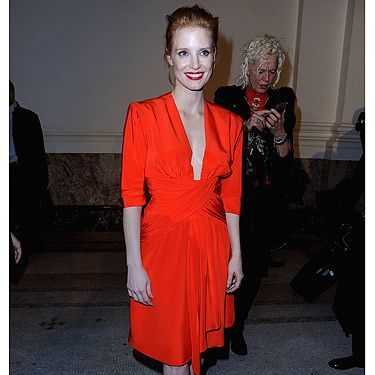 <p>Jessica Chastain looked red hot at the Saint Laurent show at Paris Fashion Week, thus proving that redheads <em>can</em> wear the tricky shade after all. The Zero Dark Thirty actress teamed her bright red dress with a slick of red lipstick and a pair of red-soled Christian Louboutin shoes. We're starting to think that red is her favourite colour – and rightly so!</p>