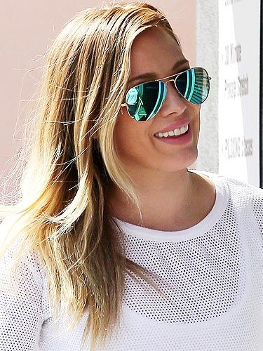 "<p>A pair of sunglasses is a must-have when you have a baby to look after, just ask Hilary Duff! Yep, the proud mama shows no signs of a lack of sleep with the help of her mirrored aviator Ray Ban sunglasses. Shop the style at <a title=""www.ray-ban.com"" href=""http://www.ray-ban.com"" target=""_blank"">Ray-Ban.com.</a></p>"