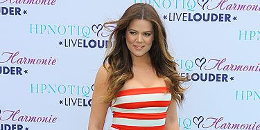 """<p>Khloé Kardashian showed off her curves in this pretty sundress with stand-out stripes at the launch of her HPNOTIQ Glam Louder programme. She teamed the bandeau dress with Kanye West for <span class=""""st"""">Giuseppe Zanotti</span> heels. Family kudos go to Khloé for for supporting her sister's beau.</p> <p> </p> <p> </p>"""