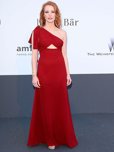 <p>Jessica Chastain has been a very busy lady during Cannes Film Festival. She arrived at amfAR's Cinema Against AIDS Gala looking every inch the red-hot bombshell. The actress opted for a scarlet Saint Laurent gown and accessorised with Bulgari jewellery – the perfect combination we'd say.</p>