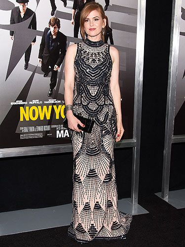 <p>L'Wren Scott was the designer of choice for Isla Fisher as she arrived for the New York premiere of Now You See Me. Her high-neck dress was very Great Gatsby-esque and proved she can wear anything!</p>