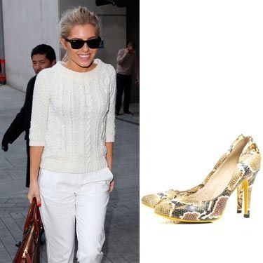 """<p>Wow, Mollie King is a bit of all white in this outfit, isn't she? The singer shows us what casual chic is all about in a white knitted jumper and white rolled up trousers, accessorised with gorgeous snakeskin print shoes, a tan bag and sunnies. Inspired? Fashion Culprit have very similar shoes for just £30, bargain!</p><p>Shoes, £30, <a href=""""http://www.fashionculprit.co.uk/footwear/hannah-snake-print-heel-shoes"""" target=""""_blank"""">Fashion Culprit</a></p>"""