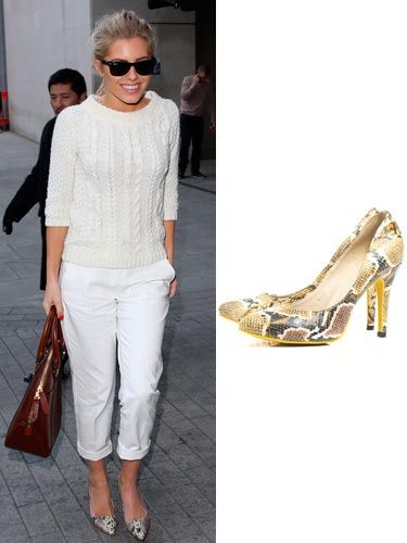 "<p>Wow, Mollie King is a bit of all white in this outfit, isn't she? The singer shows us what casual chic is all about in a white knitted jumper and white rolled up trousers, accessorised with gorgeous snakeskin print shoes, a tan bag and sunnies. Inspired? Fashion Culprit have very similar shoes for just £30, bargain!</p> <p>Shoes, £30, <a href=""http://www.fashionculprit.co.uk/footwear/hannah-snake-print-heel-shoes"" target=""_blank"">Fashion Culprit</a></p>"