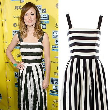 """<p>Oh we do love celebs in monochrome. Actress Olivia Wilde looks effortlessly chic in a stripy black and white sundress and black strappy heels. Olivia's dress is by L'Wren Scott but if you don't quite have the hefty budget, then McBerry's version is a dead ringer and costs £69. That works for us!</p><p>Dress, £69, <a href=""""http://www.mcberry.co.uk/product_info.php?products_id=1006&osCsid=76c5f54ce74258e8581627a5487f73da"""" target=""""_blank"""">McBerry</a></p>"""