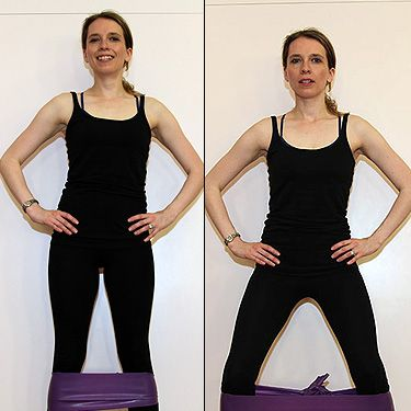 <p><strong>Works:</strong> Hips, bottom and thighs<br />Tie a resistance band around your calves so that it is tight when you stand with feet hip distance apart.<br /><br />Starting with your right leg – step it out as wide as you can and squat backwards until you come into a wide leg squat. Step back to feet hip distance and squat. That is one set, repeat for 10 and then repeat on the other side.</p>