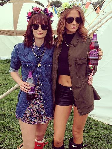 <p>Hello ladies! Millie Mackintosh tweeted this fabulous picture of herself and a friend at Glastonbury. The pair prove that floral headbands are still the biggest festival trend. The Made in Chelsea star looks incredible in her tiny hot pants and crop top – she's making the most of her toned tum. The girls differed in the sunglasses stakes – we spot aviators and RayBan Wayfarers. What do you prefer? Team Cosmo would happily share a cider with this stylish duo.</p>